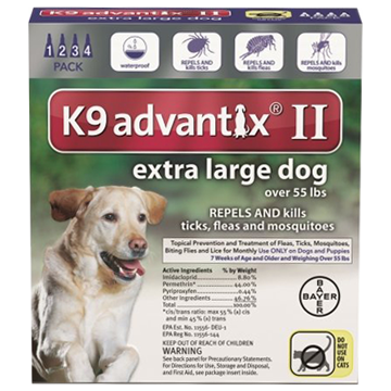 bayer K9 advantix II spot on flea drops for extra large dogs